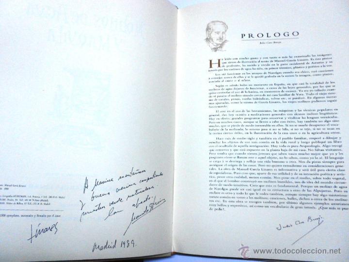 Libros de segunda mano: MOLINOS DE AGUA Y MAQUILA POR MANUEL GARCIA LINARES 1988, prol. Julio Caro Baroja, Dedicatoria autor - Foto 2 - 46693930