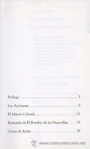 Libros de segunda mano: DE PASOS Y ENTREMESES. L.DE RUEDA, CERVANTES, HNOS A.QUINTERO. OBRA DE TEATRO. ED.EVEREST, 2005 - Foto 4 - 47109086
