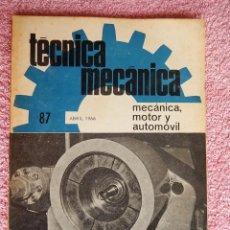 Libros de segunda mano: TÉCNICA MECÁNICA 87 EDICIONES CEAC 1966 MECÁNICA MOTOR Y AUTOMOVILES. Lote 47811988