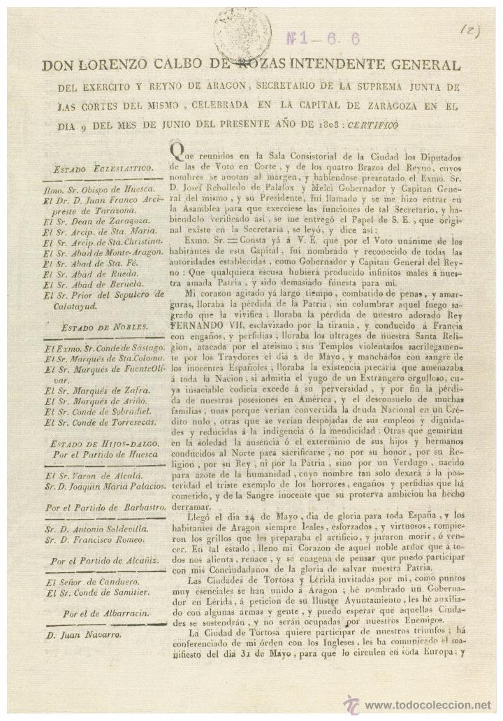 Libros de segunda mano: Facsímil - SESIÓN JUNTA SUPREMA CORTES DE ARAGÓN 1808 - Foto 3 - 48542772