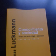 Libros de segunda mano: CONOCIMIENTO Y SOCIEDAD. THOMAS LUCKMAM. ED TROTTA . 2008 234 PAG. Lote 48562352