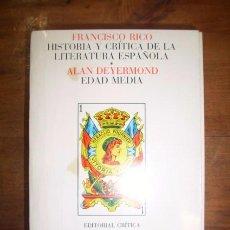 Libros de segunda mano: DEYERMOND, ALAN. EDAD MEDIA. (HISTORIA Y CRÍTICA DE LA LITERATURA ESPAÑOLA. 1). Lote 48731146