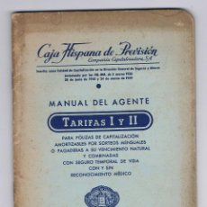 Libros de segunda mano: MANUAL DEL AGENTE CAJA HISPANA DE PREVISIÓN TARIFAS I Y II PÓLIZAS DE SEGURO ANTIGUO RARO CURIOSO. Lote 49215185