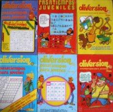 Libros de segunda mano: DIVERSIÓN Y PASATIEMPOS PARA JÓVENES 1985 NUEVOS LOTE 6 FOLLETOS. Lote 49924400