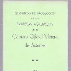 Libros de segunda mano: ESTADÍSTICAS DE PRODUCCIÓN DE LAS EMPRESAS AGRUPADAS EN LA CÁMARA OFICIAL MINERA DE ASTURIAS. 1986. Lote 50097845