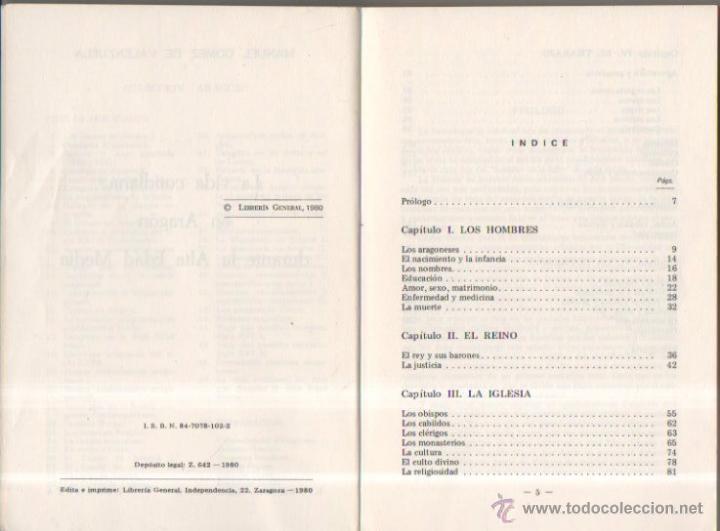 Libros de segunda mano: La vida cotidiana en Aragón durante la Edad Media. Manuel Gómez de Valenzuela. Librería General,1980 - Foto 2 - 50940938