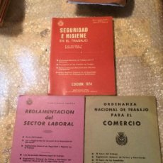 Libros de segunda mano: ANTIGUO 3 LIBRO DE REGLAMENTO DEL SECTOR LABORAL Y ORDENANZA NACIONAL COMERCIO Y SEGURIDAD HIGIENE . Lote 52317560