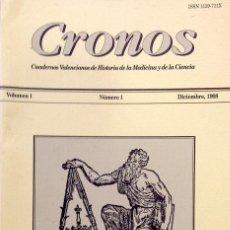 Libros de segunda mano: CRONOS Nº 1 VOL 1. CUADERNOS VALENCIANOS DE HISTORIA DE LA MEDICINA Y DE LA CIENCIA - VV.AA.. Lote 44781146