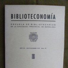 Libros de segunda mano: BIBLIOTECONOMÍA NUM 50 // BOLETÍN DE LA ESCUELA DE BIBLIOTECARIAS DE BARCELONA // 1959. Lote 53008225