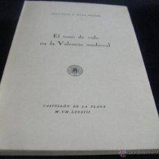 Libros de segunda mano: EL TONO DE VIDA EN LA VALENCIA MEDIEVAL SOCIEDAD CASTELLONENSE DE CULTURA. Lote 53988892