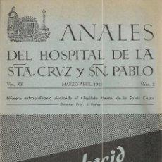 Libros de segunda mano: INSTITUTO MENTAL DE LA SANTA CRUZ / J. FUSTER. MONOGRAFICO ANALES MARZO-ABRIL 1960. 24X17 CM.. Lote 54000957