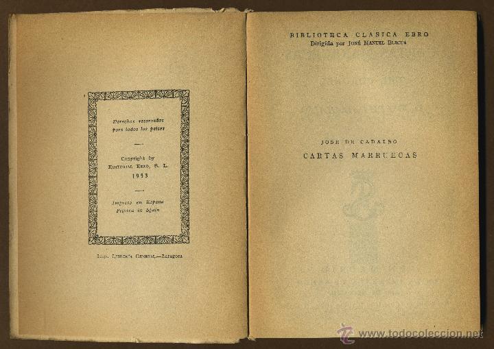 Libros de segunda mano: CLASICOS EBRO - CARTAS MARRUECAS JOSE DE CADALSO - Foto 2 - 54501376