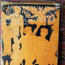 Libros de segunda mano: HOMOSEXUALIDAD: LITERATURA Y POLÍTICA. COMPILACIÓN DE GEORGE STEINER Y ROBERT BOYERS. Lote 54514018