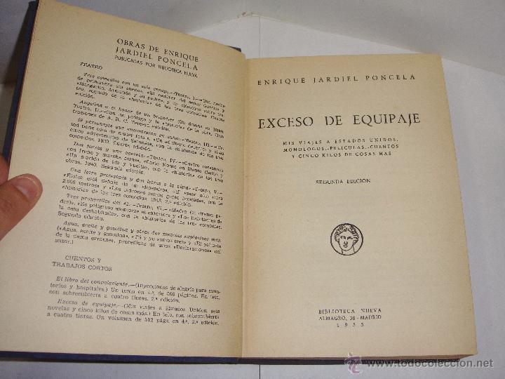 EXCESO DE EQUIPAJE. ENRIQUE JARDIEL PONCELA. 1955 (Libros de Segunda Mano (posteriores a 1936) - Literatura - Otros)