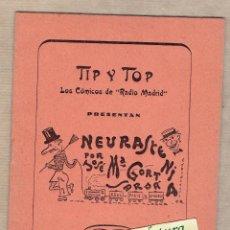 Libros de segunda mano: TIP Y TOP. LOS CÓMICOS DE RADIO MADRID PRESENTAN NEURASTENIA POR JOSÉ Mª GORT . REUS.. Lote 54543106