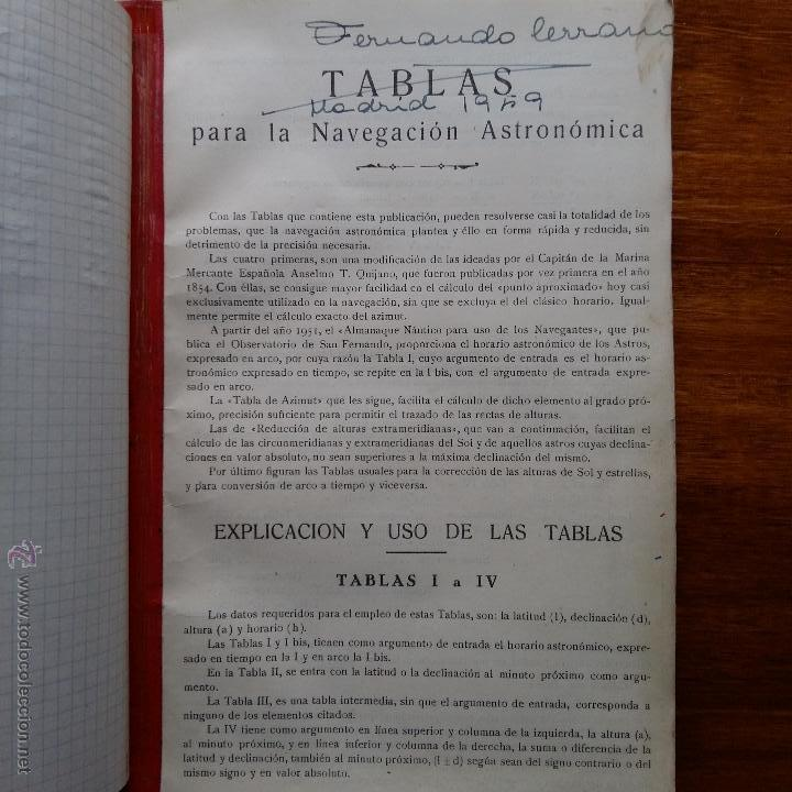 Libros de segunda mano: CURIOSO LIBRO RECONSTRUIDO DE TABLAS NAUTICAS, NAVEGACION ASTRONOMICA AÑOS 50-60. APUNTES A MANO - Foto 9 - 54694443