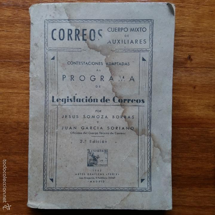 CONTESTACIONES ADAPTADAS PROGRAMA LEGISLACION DE CORREOS. CUERPO MIXTO DE AUXILIARES 1942 (Libros de Segunda Mano - Ciencias, Manuales y Oficios - Otros)