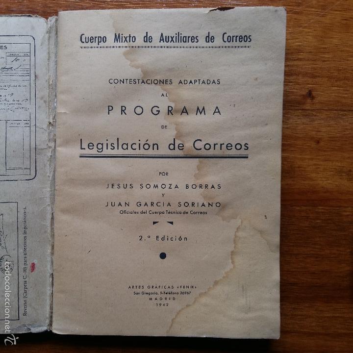 Libros de segunda mano: CONTESTACIONES ADAPTADAS PROGRAMA LEGISLACION DE CORREOS. CUERPO MIXTO DE AUXILIARES 1942 - Foto 2 - 55884603