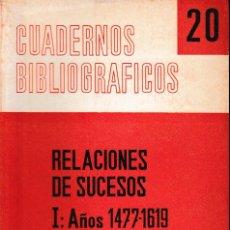 Libros de segunda mano: RELACIONES DE SUCESOS I: AÑOS 1477 - 1619 (MERCEDES AGULLÓ 1966) SIN USAR.. Lote 194364220