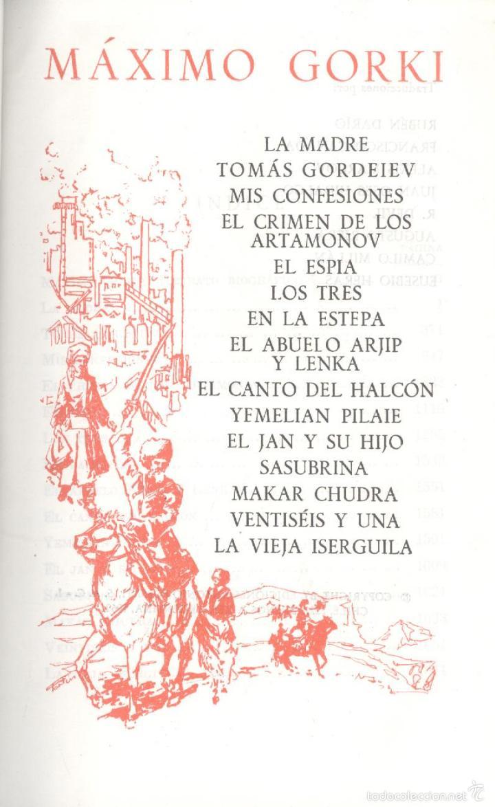 Libros de segunda mano: Máximo Gorki. Obras escogidas. Col. Obras Inmortales. Madrid, 1962. - Foto 2 - 55779556
