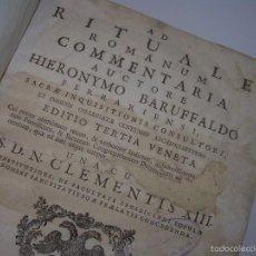 Libros de segunda mano: LIBRO TAPAS DE PERGAMINO..RITUALE ROMANUM....EXORCISMOS Y RITUALES PARA EVITAR MALEFICIOS..AÑO.1.792. Lote 56699588