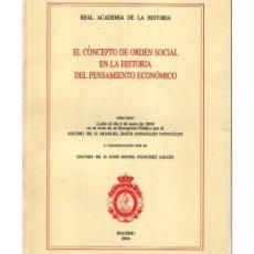 Libros de segunda mano: EL CONCEPTO DE ORDEN SOCIAL EN LA HISTORIA DEL PENSAMIENTO ECONÓMICO. Lote 56730247