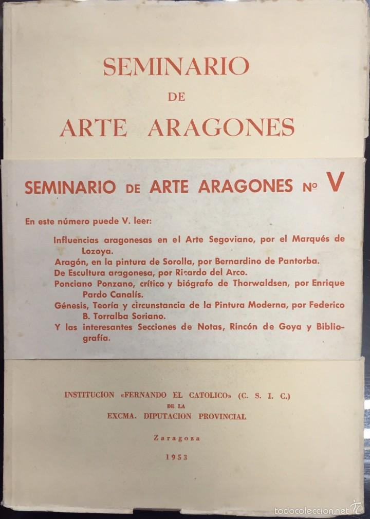 SEMINARIO DE ARTE ARAGONES Nº V. 1953. (Libros de Segunda Mano - Bellas artes, ocio y coleccionismo - Otros)