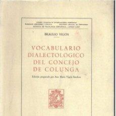 Libros de segunda mano: VOCABULARIO DIALECTOLÓGICO DEL CONCEJO DE COLUNGA (B. VIGÓN) - 1955 - SIN USAR. Lote 96071066