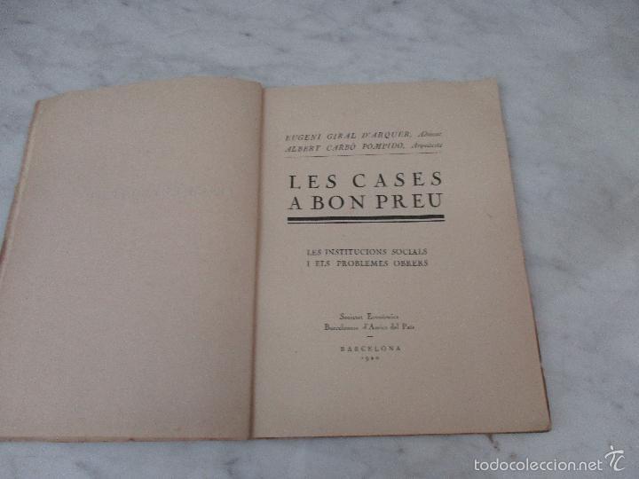 Libros de segunda mano: Les Cases a Bon Preu - Les Institucions Socials i els Problemes Obres - Eugeni Giralt - 1920 - Foto 2 - 57482371