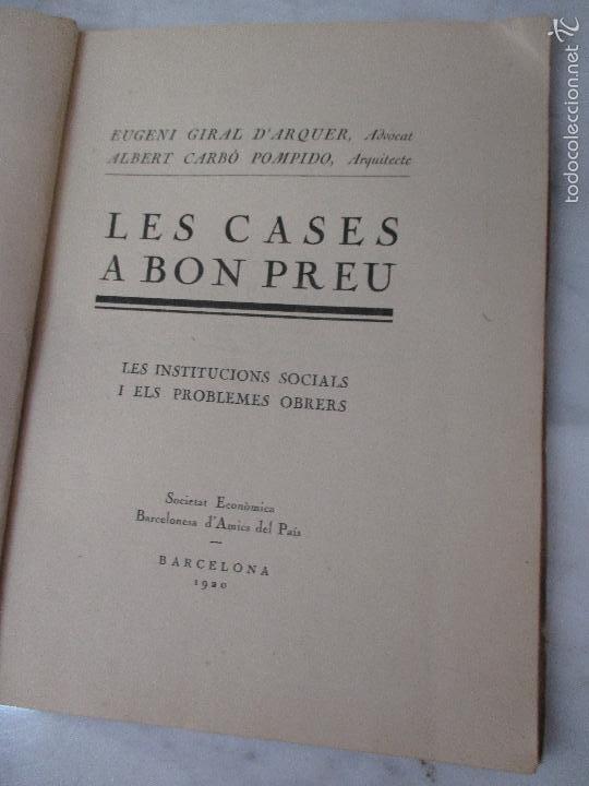 Libros de segunda mano: Les Cases a Bon Preu - Les Institucions Socials i els Problemes Obres - Eugeni Giralt - 1920 - Foto 4 - 57482371