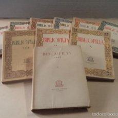 Libros de segunda mano: BIBLIOFILIA - DEL I AL X - COMPLETO - TODOS EN PAPEL DE HILO NUMERADOS EXCEPTO VOLUMEN II. Lote 57514316