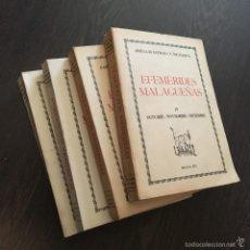 Libros de segunda mano: EFEMERIDES MALAGUEÑAS - JOSE LUIS ESTRADA Y SEGALERVA - 4 TOMOS - COMPLETO - PRIMERA EDICION. Lote 57580381