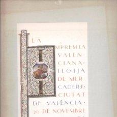 Libros de segunda mano: LA IMPREMTA VALENCIANA, 1991, CATALOGO EXPOSICION., VALENCIANO,CASTELLANO, INGLES.300 PP. Lote 57817472