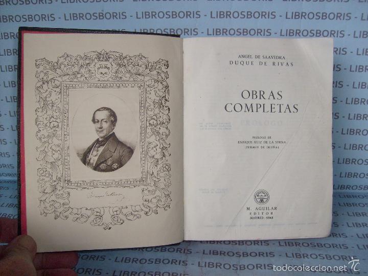 Libros de segunda mano: DUQUE DE RIVAS - OBRAS COMPLETAS - AGUILAR - PRIMERA EDICIÓN - Foto 4 - 58285243