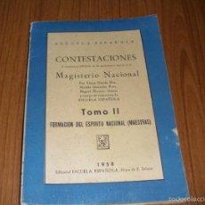 Libros de segunda mano: CONTESTACIONES AL CUESTIONARIO OPOSICIONES DE MAGISTERIO NACIONAL PARA MAESTRAS. Lote 58381969