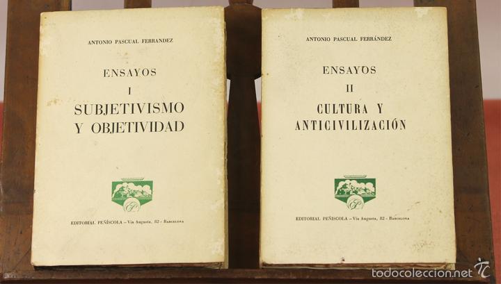 7862 - EDITORIAL PEÑISCOLA. 2 TOMOS(VER DESCRIP). ANTONIO PASCUAL FERRANDEZ. 1961. (Libros de Segunda Mano - Pensamiento - Otros)