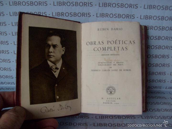 Libros de segunda mano: RUBEN DARIO - OBRAS POETICAS COMPLETAS - AGUILAR - COLECCION JOYA. - Foto 4 - 84134304