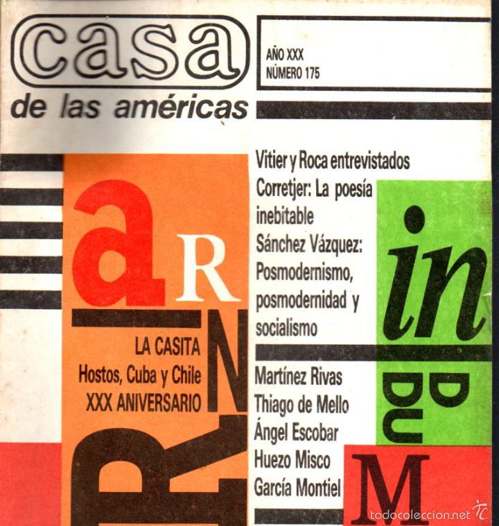 REVISTA CASA DE LAS AMÉRICAS Nº 175 - JULIO AGOSTO 1989 (Libros de Segunda Mano (posteriores a 1936) - Literatura - Otros)