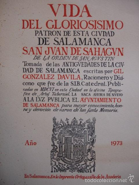 VIDA PÀTRON SALAMANCA SAN JUAN DE SAHAGUN.1973.29 PG (Libros de Segunda Mano - Historia - Otros)