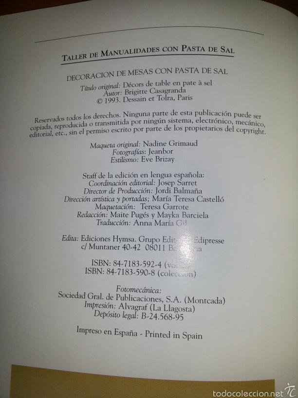 Libros de segunda mano: NAVIDAD Y FIESTAS CON PASTA DE SAL / Ed. Hymsa 1993 - Foto 4 - 60676486