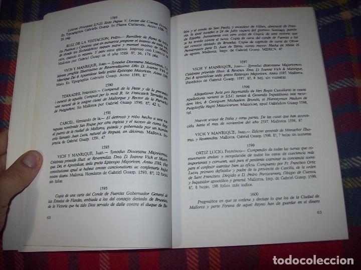 Libros de segunda mano: LA IMPRENTA Y LAS XILOGRAFÍAS DE LOS GUASP. GASPAR SABATER. ESTUDIS BALEÀRICS.1985. MALLORCA - Foto 6 - 61695872