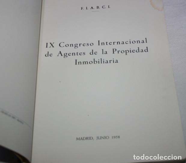 Libros de segunda mano: IX CONGRESO INTERNACIONAL INMOBILIARIO MADRID JUNIO 1958, F.I.A.B.C.I., LIBRO ANTIGUO - Foto 2 - 62092656