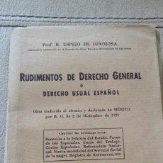 Libros de segunda mano: RUDIMENTOS DE DERECHO GENERAL 1949. ESPEJO DE HINOJOSA. Lote 62133558