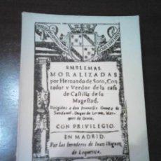 Libros de segunda mano: EMBLEMAS MORALIZADAS. Lote 63774235