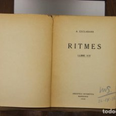 Libros de segunda mano: 4824- RITMES. A. ESCLASANS. LIBRO XIV. BIBLIOTECA SISTEMATICA. 1938. DEDICADO.. Lote 43876096