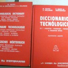 Libros de segunda mano: DICCIONARIO TECNOLOGICO. 2 TOMOS. 1976. Lote 65782574