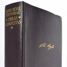 Libros de segunda mano: OBRAS COMPLETAS, TOMO IV - STENDHAL (HENRI BEYLE). Lote 69449313