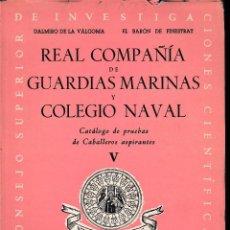 Libros de segunda mano: REAL COMPAÑÍA DE GUARDIAS MARINAS Y COLEGIO NAVAL V 1954. SIN USAR. Lote 70546697