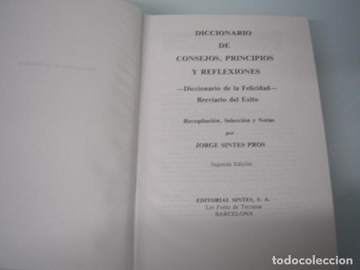 Libros de segunda mano: Diccionario de principios, consejos y meditaciones - De la felicidad - Editorial Sintes - 1989 - Foto 3 - 73960107