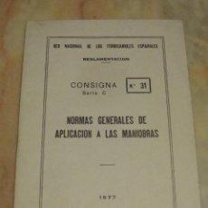 Libros de segunda mano: (TC-103) RENFE LIBRO REGLAMENTACION NORMAS GENERALES MANIOBRAS 1977. Lote 74085623
